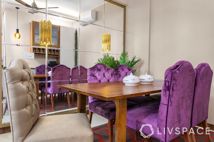 upholstered furniture-dining room-mirror wall