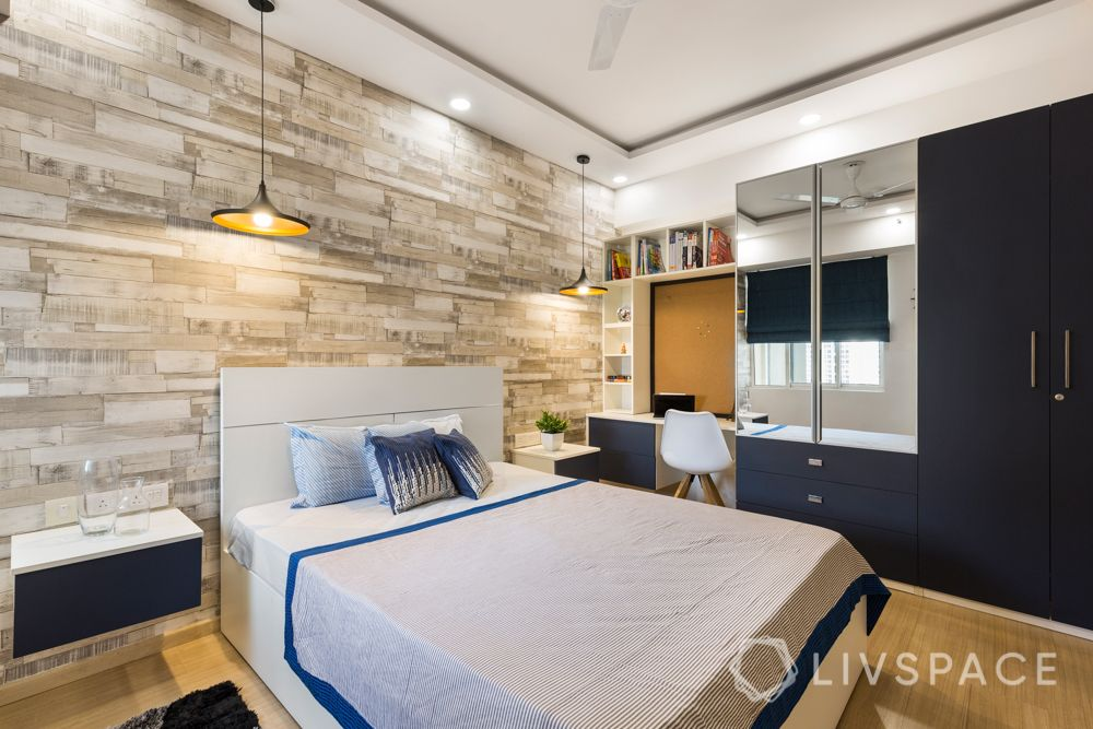 Stone cladding wallpaper-study unit-blue wardrobe-pendant lights