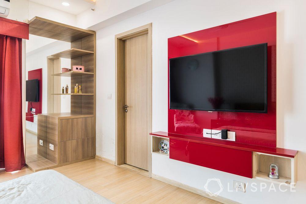maroon acrylic wardrobe-wooden laminate dresser-master bedroom