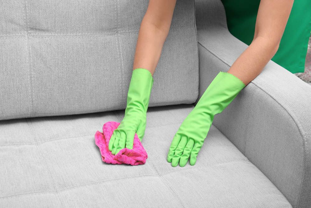 homemade cleaning solution-grey sofa-cleaning