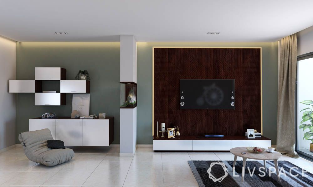 Vitrified Tiles vs Granite-TV Unit-Vitrified-display unit-floor seating