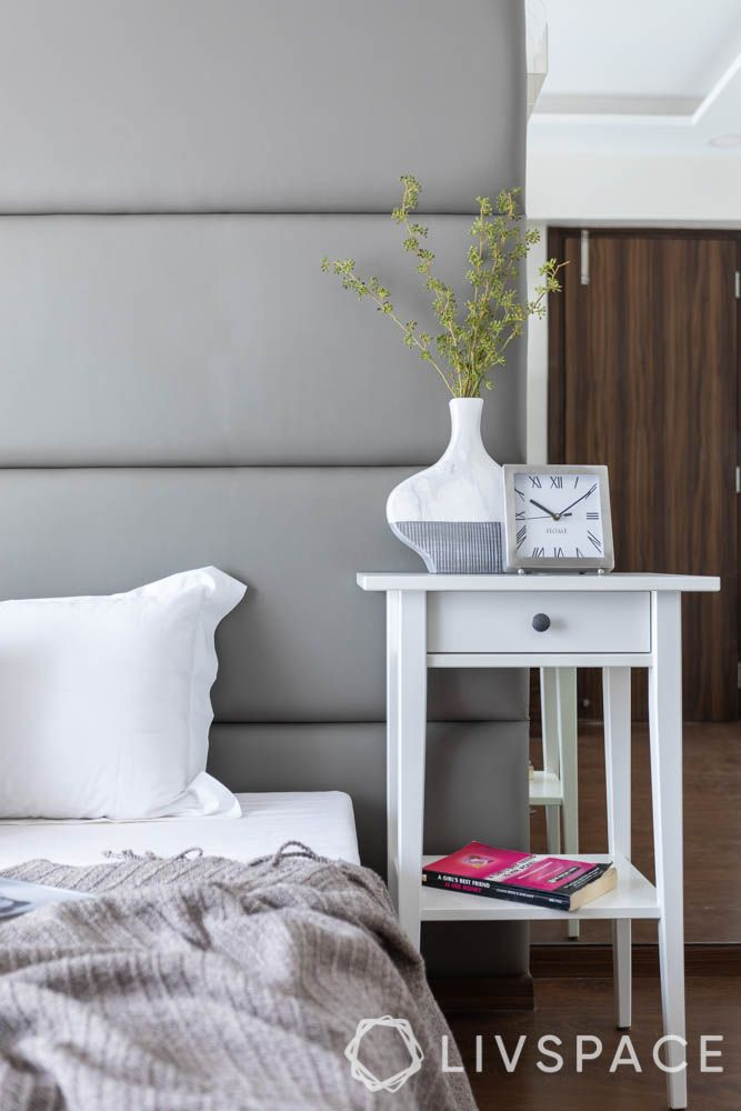 make your home look expensive-white side table-grey upholstery