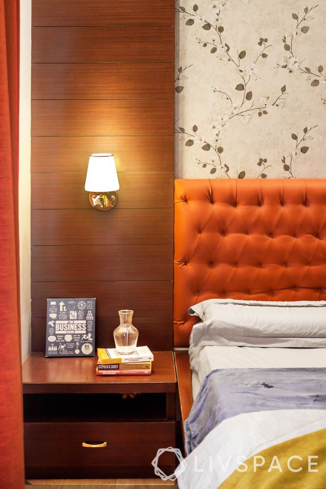 orange headboard designs-bedside lamp designs-reading light