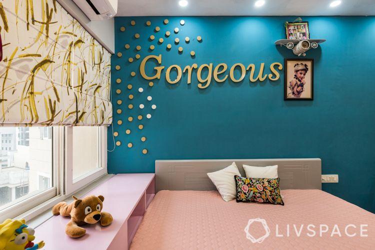 interior designer in noida-blue wall decor-kids room for girls