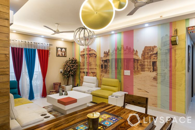 interior designer in noida-colourful curtains-mural wallpaper