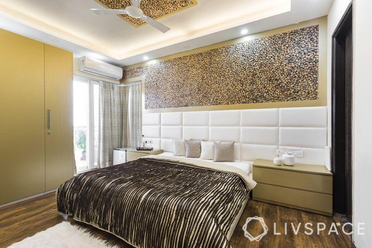 interior designer in noida-wooden log panel-fabric panel