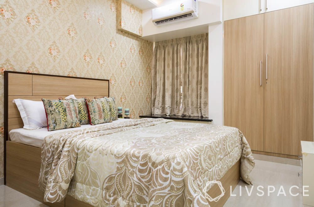 wooden bed-cream wallpaper-traditional design