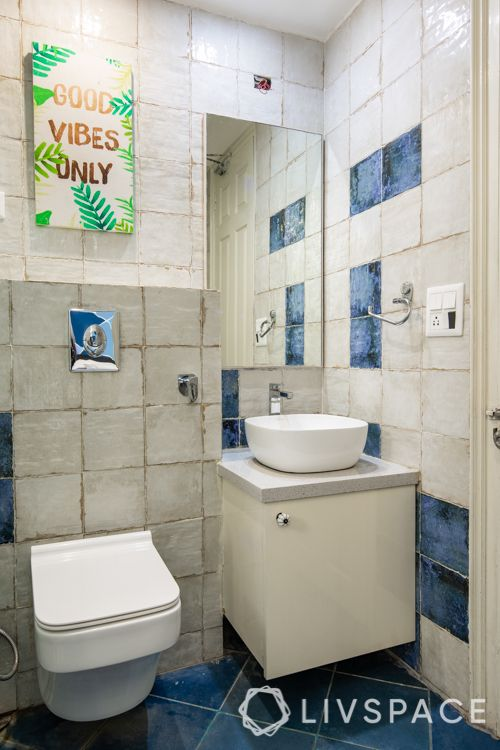 Small bathroom designs india-blue floor tiles