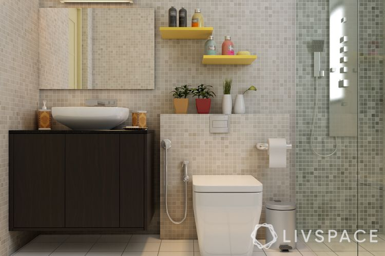 Small bathroom designs india-mosaic-yellow shelves-wooden vanity
