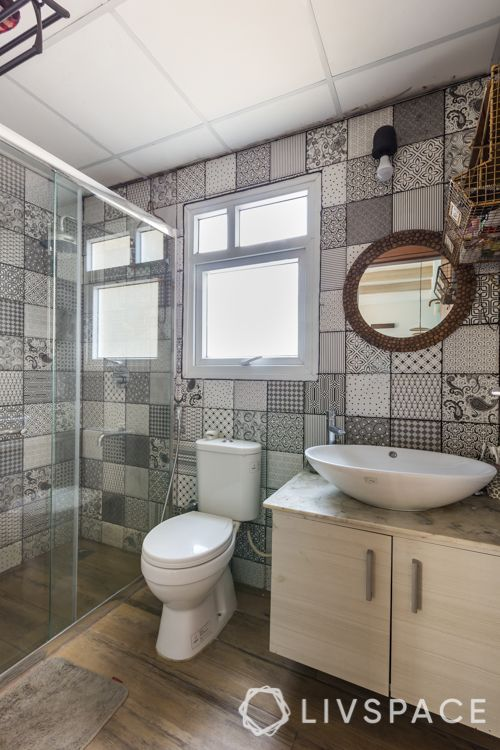 Small bathroom designs in India-textured tiles-mirror