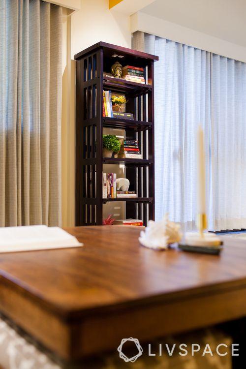 small house interior design-bookshelf-coffee tables