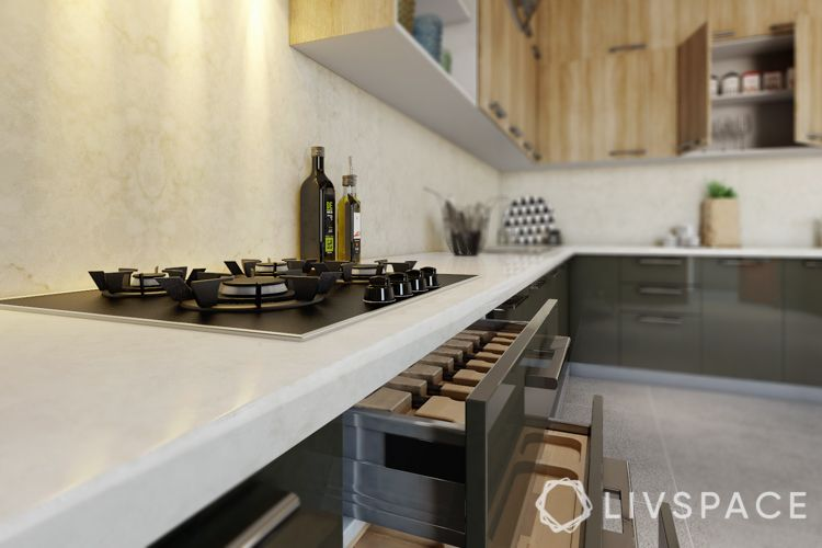 livspace kitchen designs-kitchen drawers-kitchen storage