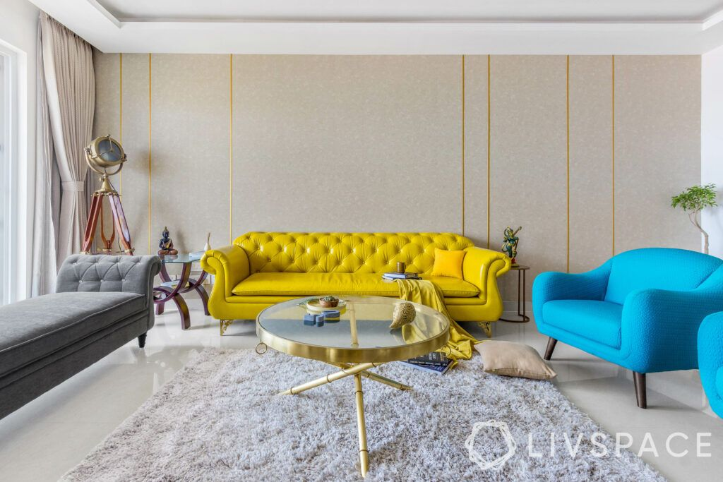 leather furniture-yellow-leatherette-living room