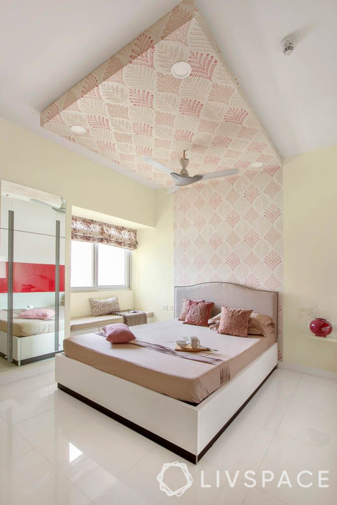 2 BHK in Bangalore-master bedroom-wallpaper-false ceiling-laminate wardrobe-lacquered glass panel-bay seating