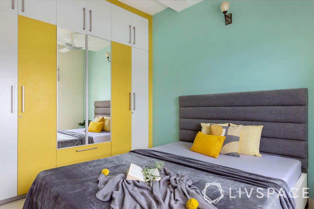 Yellow wardrobe-parents bedroom-mirror