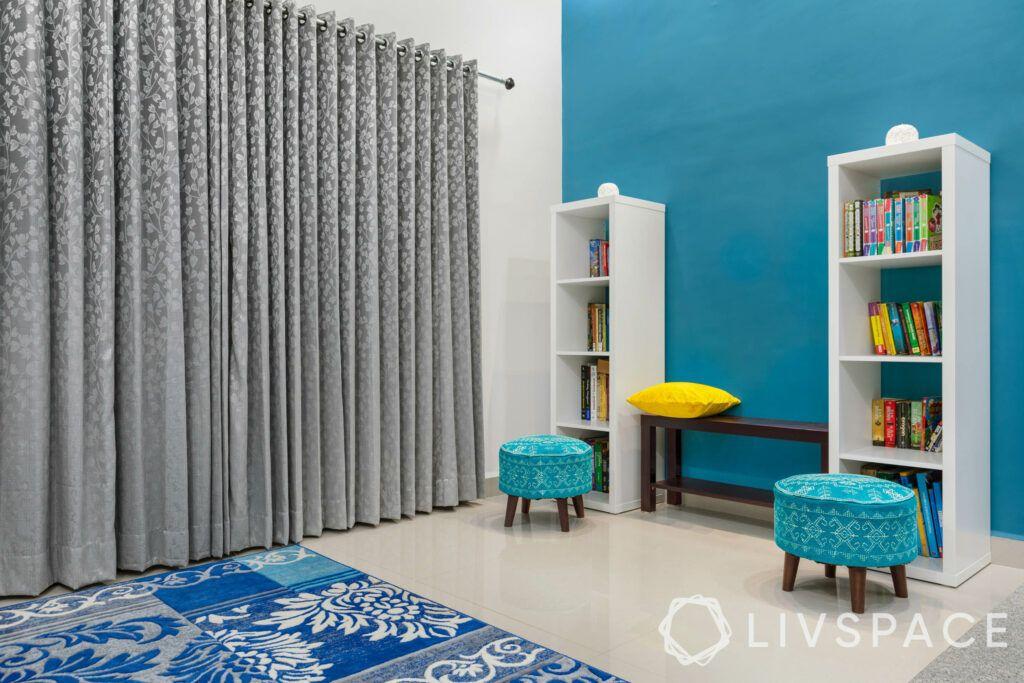 white shelf designs-blue ottoman designs