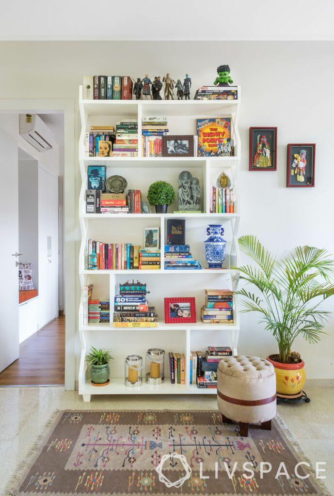 white bookshelf design-wooden bookshelf-reading corner