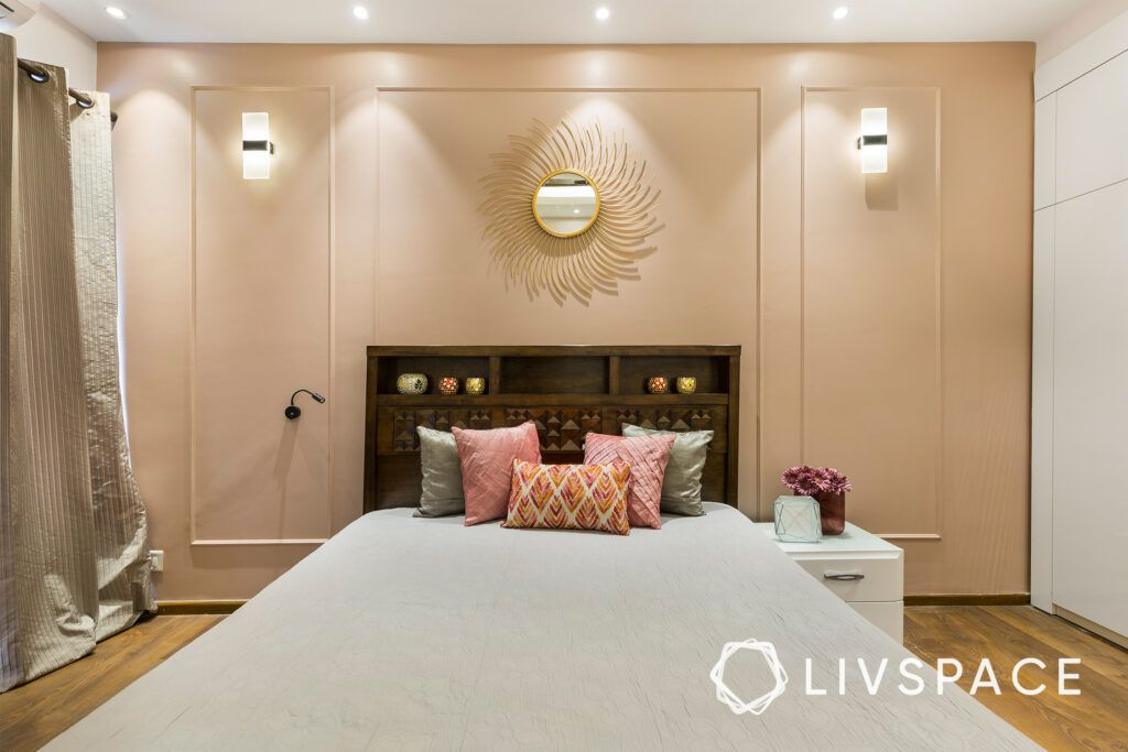 mirror shapes-sunburst mirror-wall mounted lights-wooden bed-wall trims