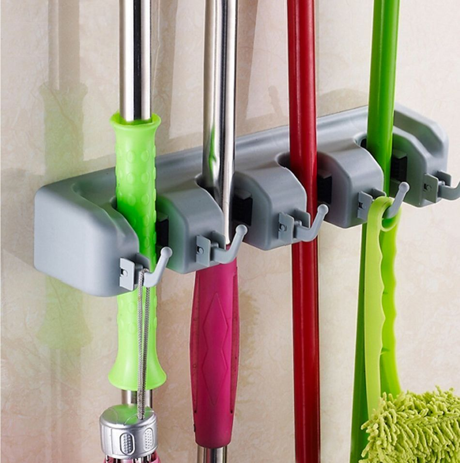 how to organize kitchen-broom organizer-wall-mounted broom