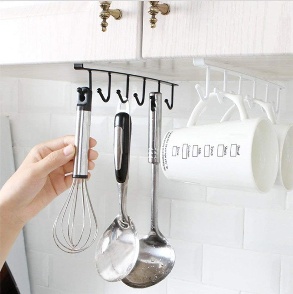 how to organize kitchen-hooks under cabinet-hooks for mugs