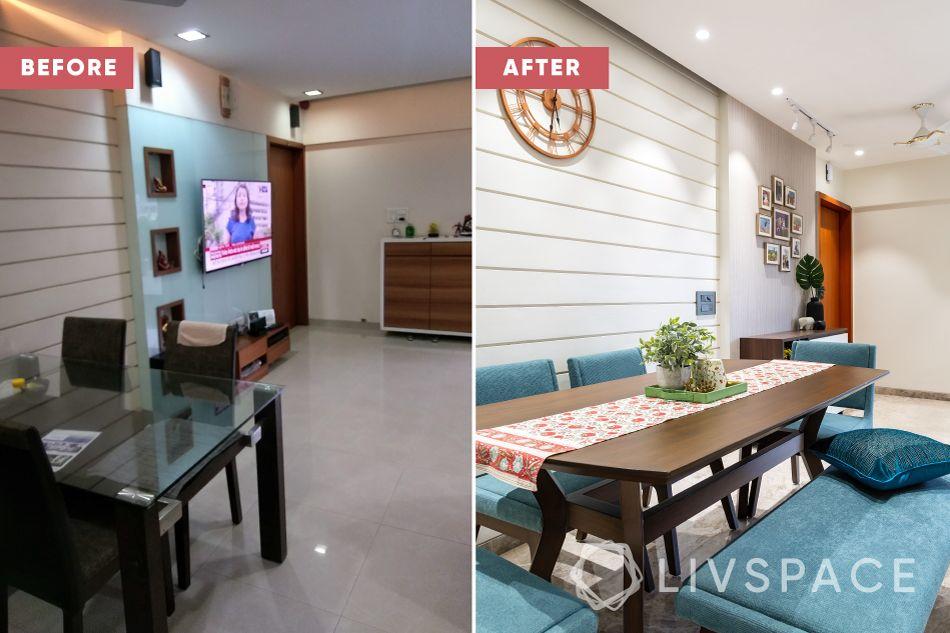 2bhk interior design-renovation-dining room