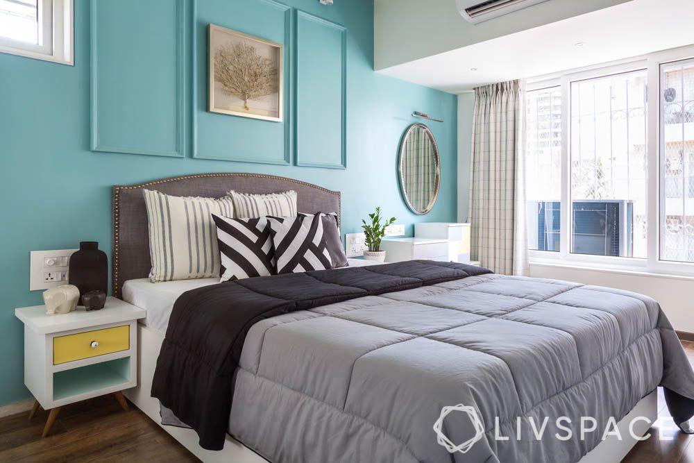 Pastel bedroom-wall trims-grey headboard