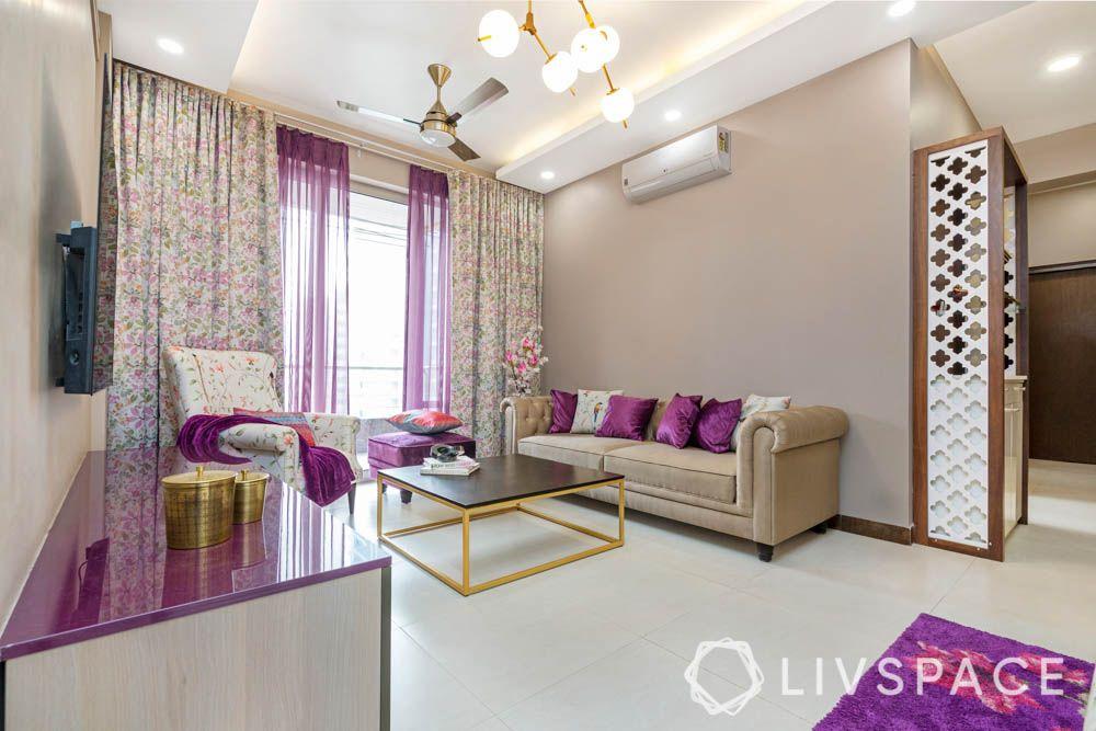 Living room-purple and beige upholstery-jaali
