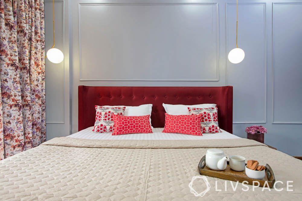 Master bedroom-red headboard-wall trims