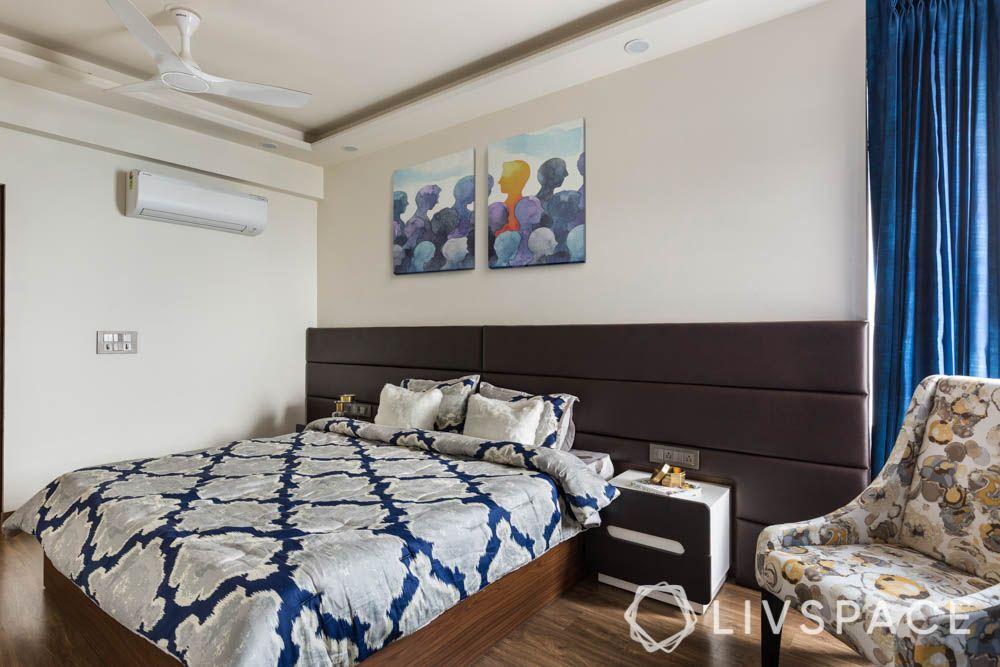 2bhk interior design-master bedroom-leather headboard