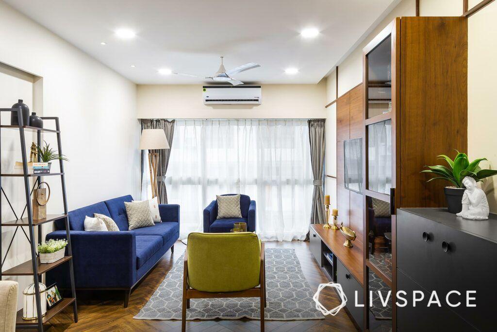 home plan 2bhk-blue sofa-open rack unit
