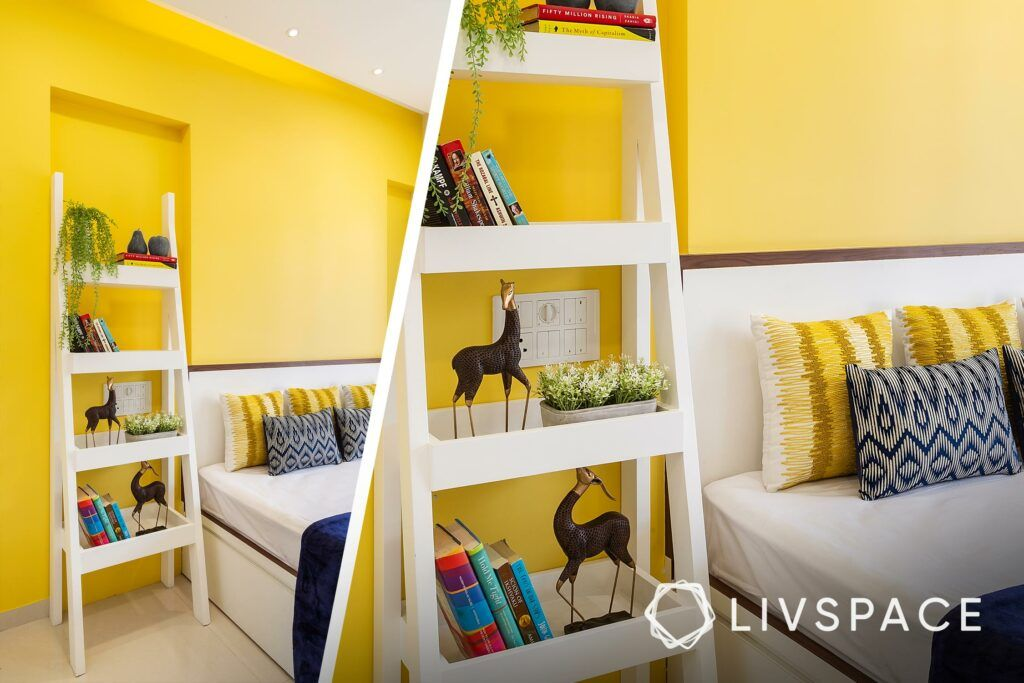 home plan 2bhk-yellow wall ideas-white ladder unit