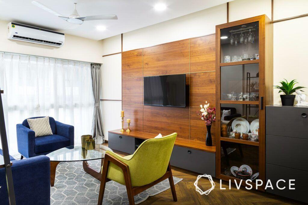 tv unit designs-glass shutter for cabinet-veneer finish