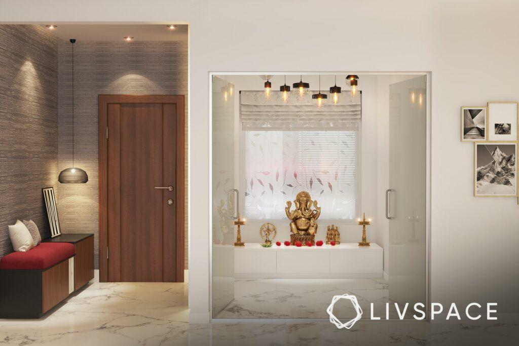 white pooja room designs-ganesha idol-pendant lights