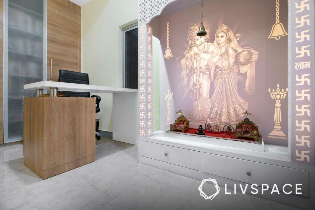 white pooja room designs-lighting