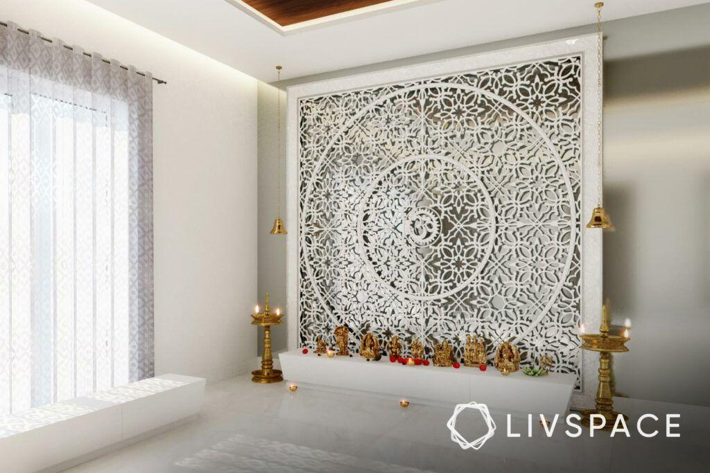 white pooja room designs-jaali
