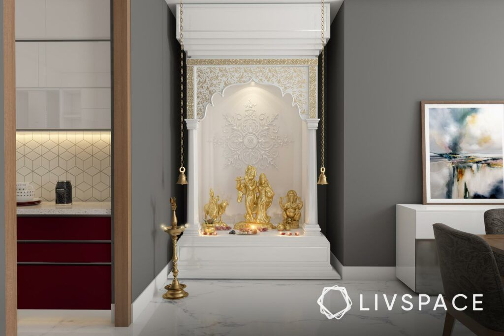 white pooja room designs-traditional