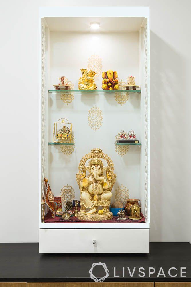 white pooja room designs-simple design-compact-jaali