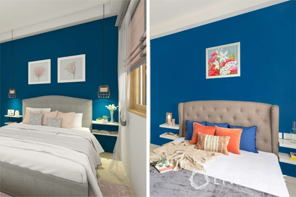 interiors in bangalore-blue painted walls-wall art-upholstered bed-white wardrobes