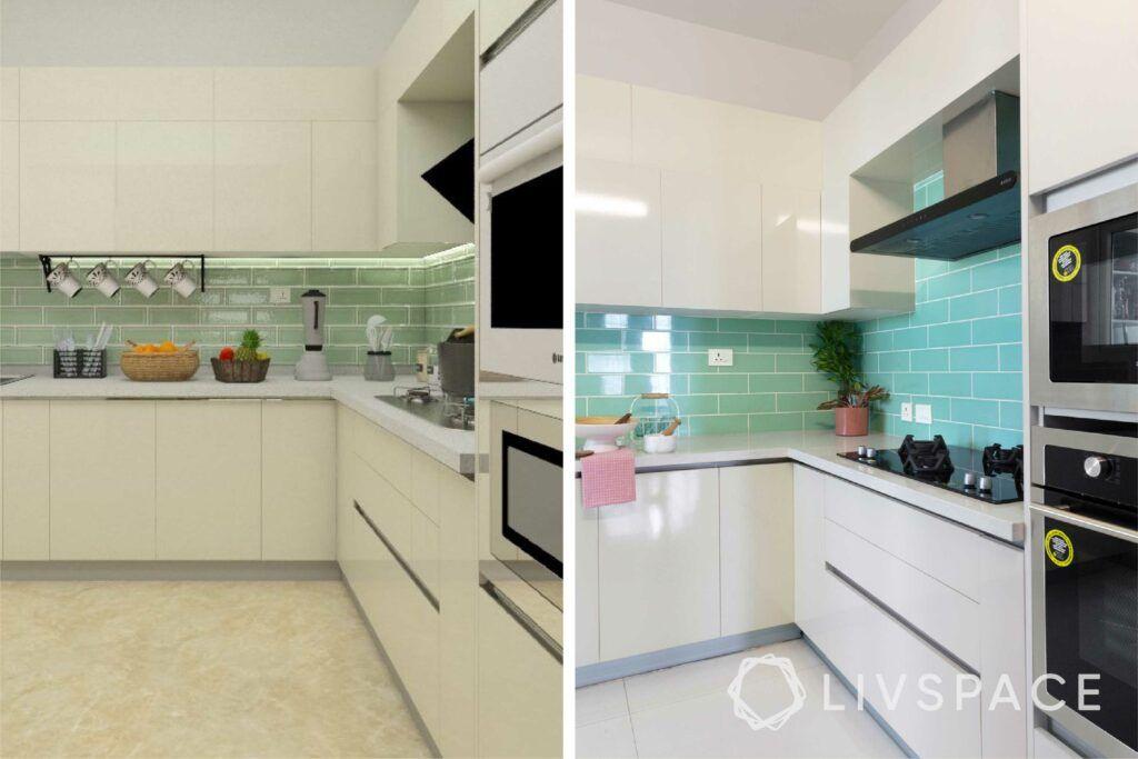 interiors in bangalore-subway tiles-clue backsplash-white cabinets-high gloss laminate