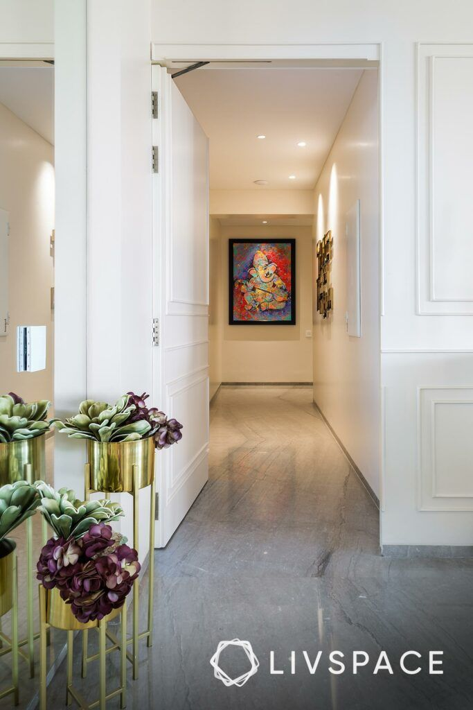best flooring for house in india-planters in stands-marble flooring-passageway-wall art