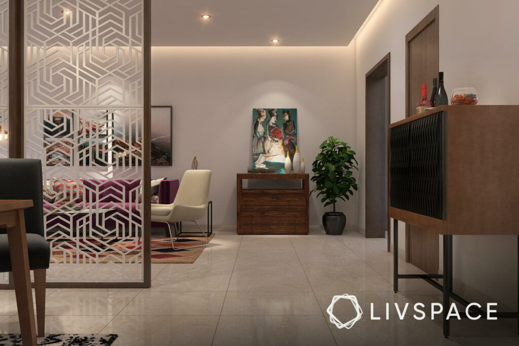 best flooring for house in india-partitions-wall art-living room designs