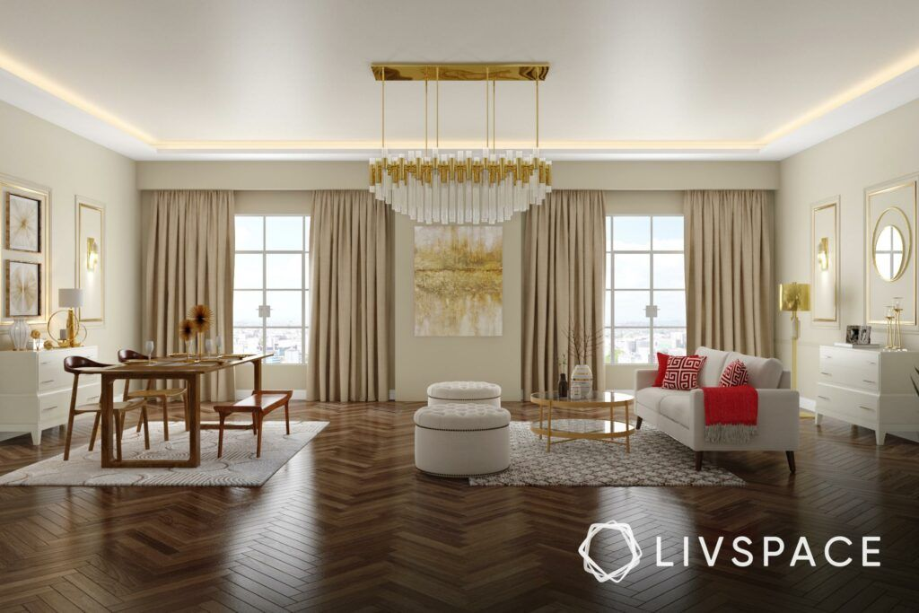 best flooring for house in india-chevron pattern-vinyl flooring-white sofa-wooden dining table