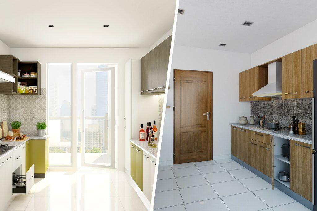best flooring for house in india-wooden kitchen cabinets-green and white cabinets