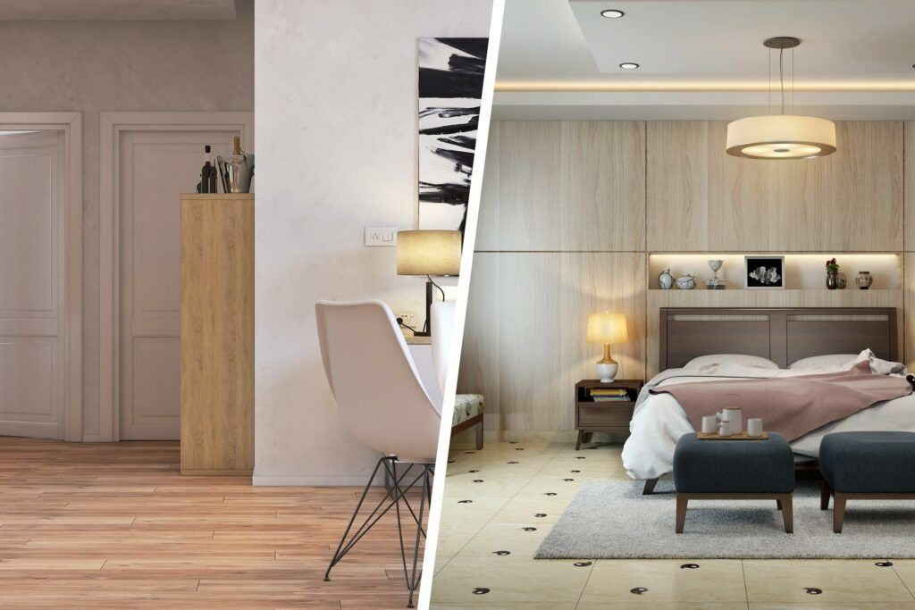 best flooring for house in india-wooden flooring-tile flooring-white doors-bedroom designs