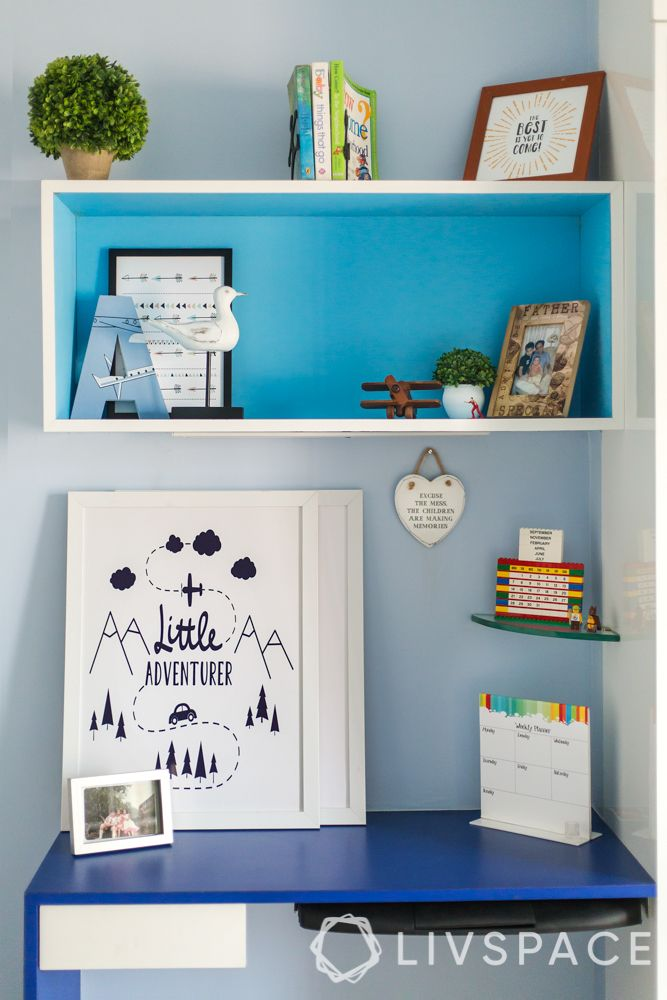 home decor hacks-study unit-blue floating shelves