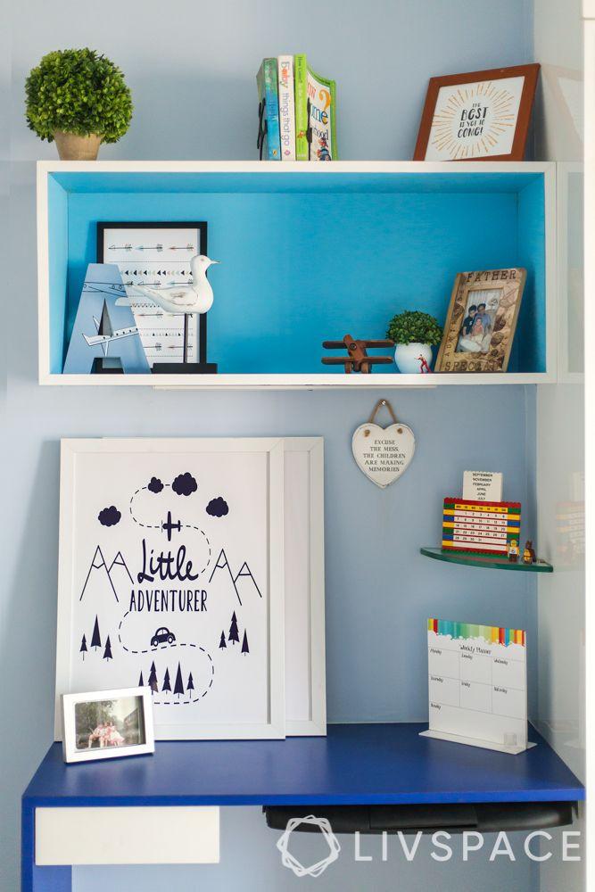 home decor hacks-study unit-blue floating shelves