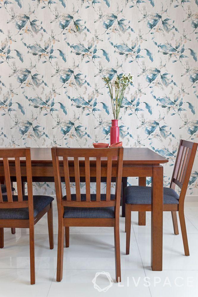 Dining room-blue floral wallpaper-wooden furniture