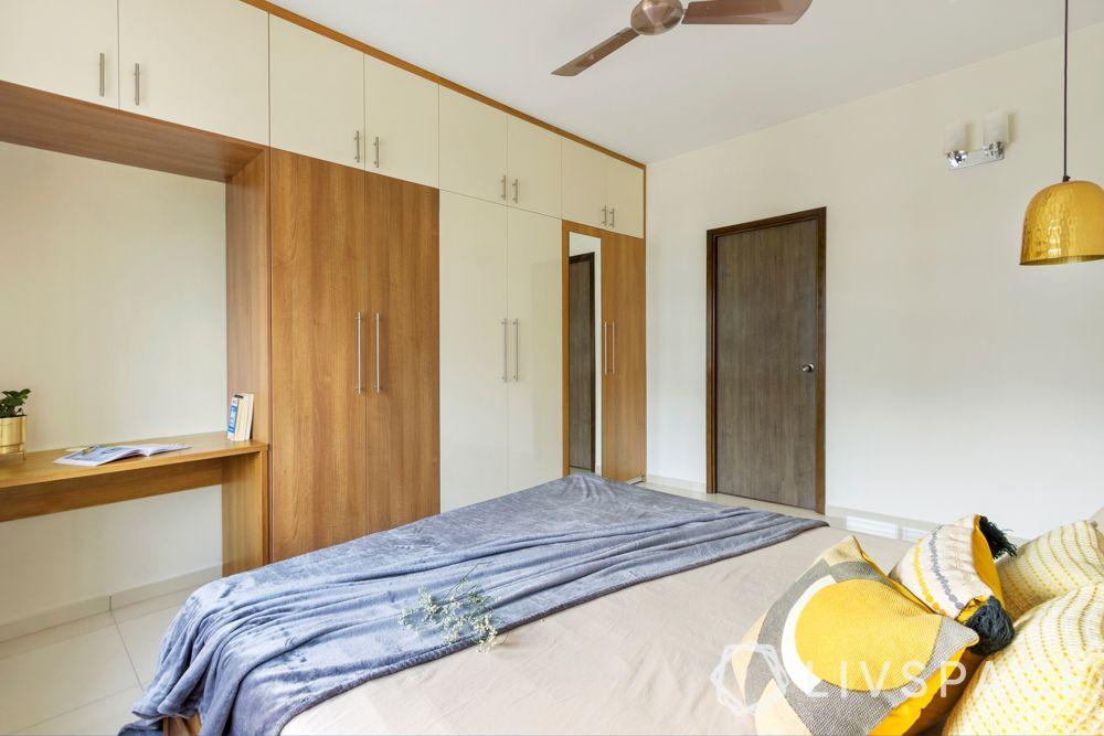 Master bedroom-laminate wardrobe-golden light-study unit