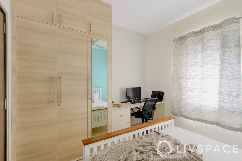interior design firms in bangalore-guest bedroom-wardrobe-wooden laminate-study unit