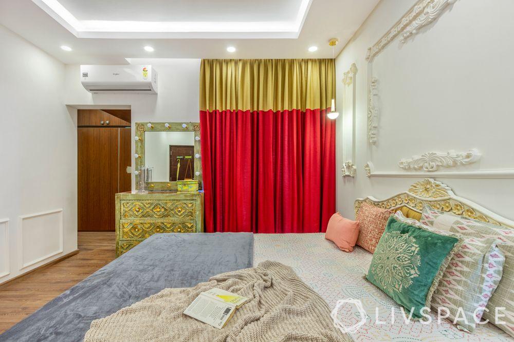 mahindra-windchimes-sari-curtain-olive-toned-dresser